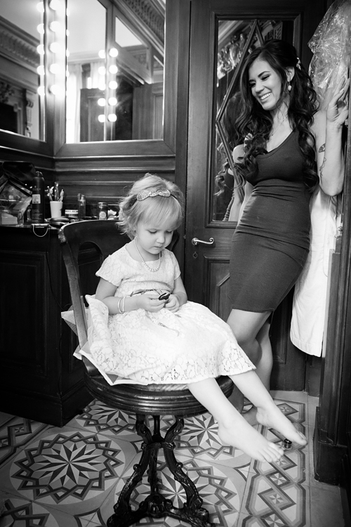 Bride and daughter getting ready at the L'HOTEL Paris before the wedding
