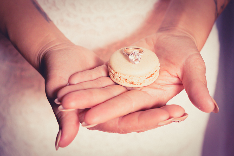 wedding ring on a macaron