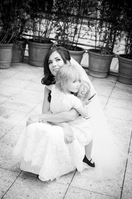 bride and daughter during intimate wedding