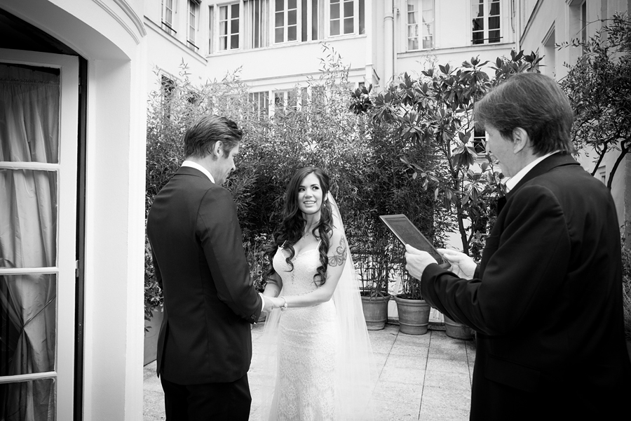 wedding celebration on the terrace of the Oscar Wilde suite at the L'HOTEL in Paris